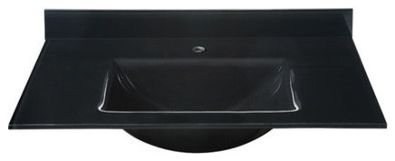 "Glass Top, 31"" Black With Square Bowl, Backsplash Included."