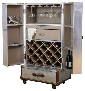 Leandro Rolling Storage Steamer Wine Cabinet - Industrial - Wine And Bar Cabinets - by GDFStudio