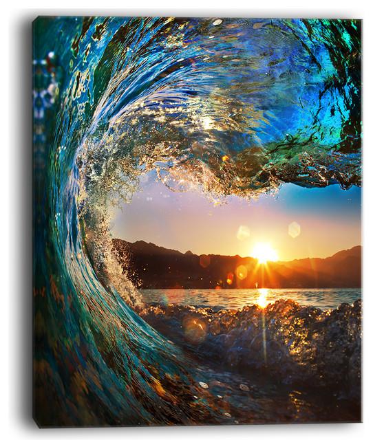 "Waves Wallpapers: Buy FAST: DesignArt ""Colored Ocean Waves Falling Down"