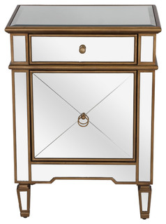 Worlds Away Claudette Mirrored Night-Stand Edged In Gold ...