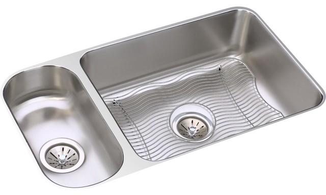 Elkay Lustertone Stainless Steel 30/70 Double Bowl Undermount Sink Kit
