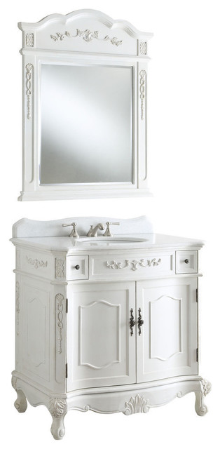 36 Traditional Antique Style White Fairmont Sink Vanity With Mirror