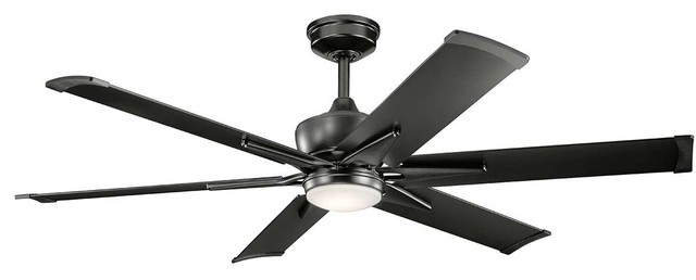 "Kichler Szeplo Patio Outdoor Ceiling Fan With Light, Satin Black, 60""."