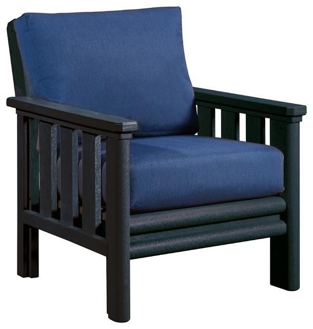 stratford swivel chair in black with sunbrella cushions indigo blue
