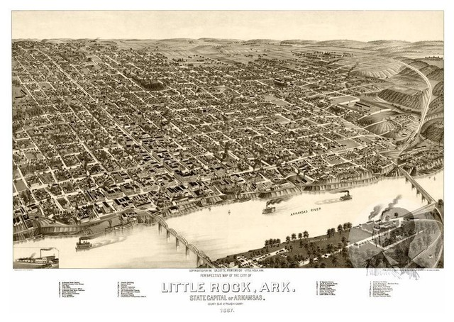 Historic Little Rock, AR Map 1887, Vintage Arkansas Art Print, 12\