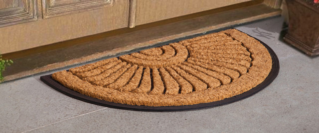 "Sunburst Brush Doormat, Natural and Black, 18""x30"""