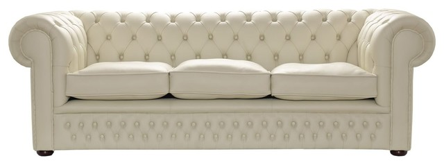 Handmade 3-Seater Leather Chesterfield Sofa, Cream