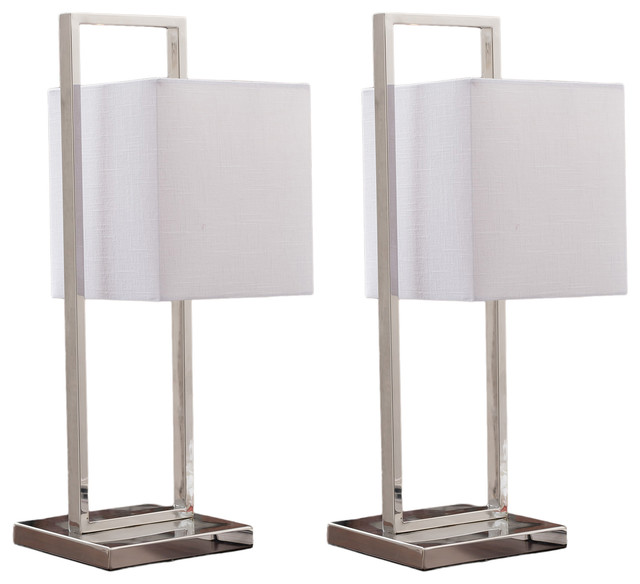 Stainless Steel With White Fabric Shade Modern Rectangle Table Lamps, Set Of 2.