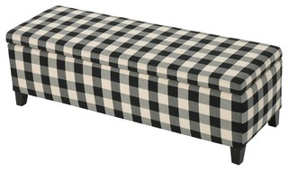 Colby Fabric Storage Ottoman Bench, Black/White Checkers