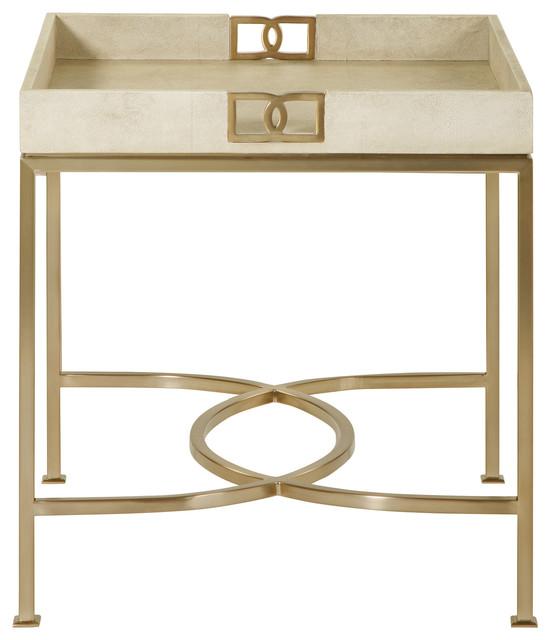 Shagreen Coffee Table Tray: Oriana Ivory Faux Shagreen Tray Gold Side Table