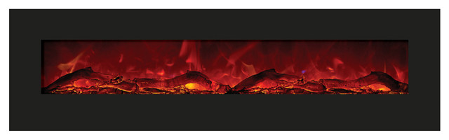 Amantii Wall Mount Built In Black Glass Surround Electric Fireplace 81.