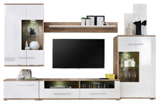 Saala 2 Entertainment Center Wall Unit With Led Lights 60 Tv Stand
