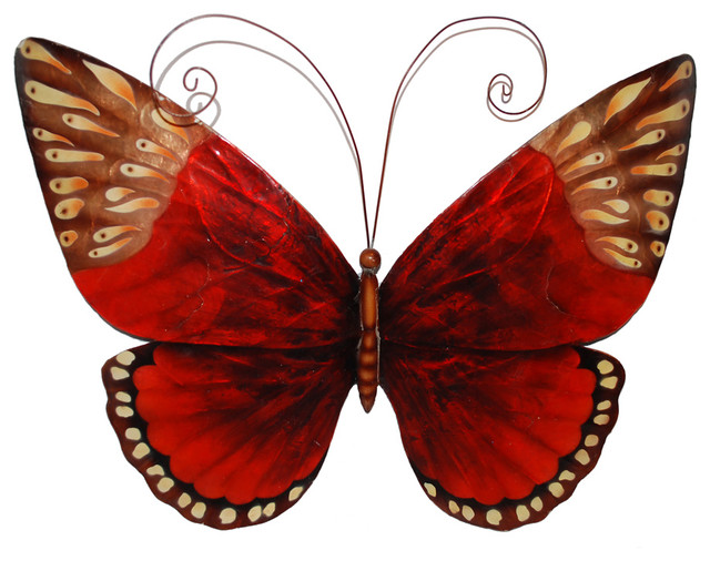Eangee Home Designs Metal Handcrafted Red Butterfly Wall Decor Sculpture.
