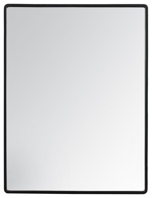 Salvo Rectangle Metal Frame Mirror, 18X24, Black