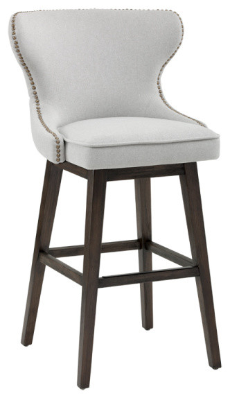 Tufted Back Swivel Stool With Br Nail Head Trim Light Gray Bar Height