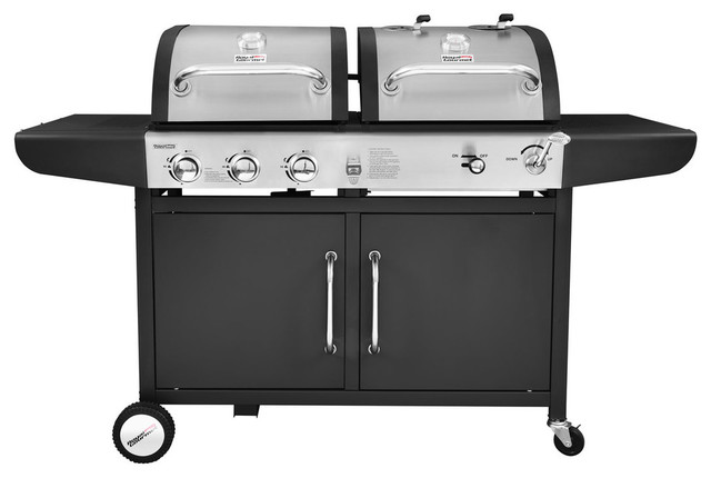 3-Burner Propane Gas And Charcoal Grill Combo ...