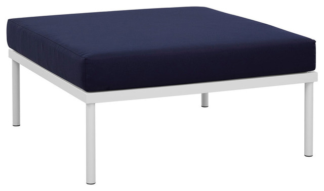 Harmony Outdoor Patio Aluminum Ottoman, White/navy.
