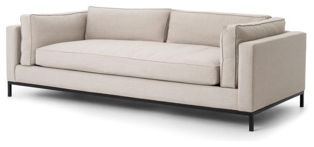 Diorama Modern Classic Black Steel Light Grey Fabric Sofa