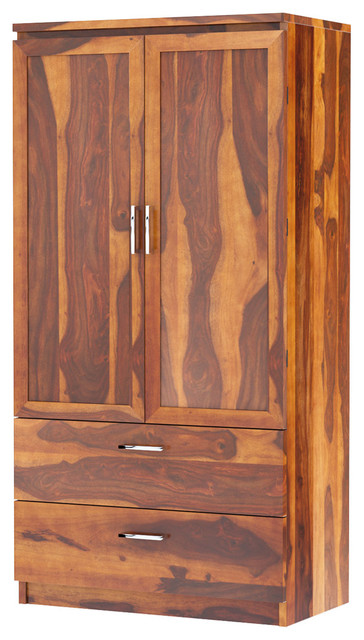 Caspian Rustic Solid Wood Bedroom Armoire Wardrobe With 2 Drawers