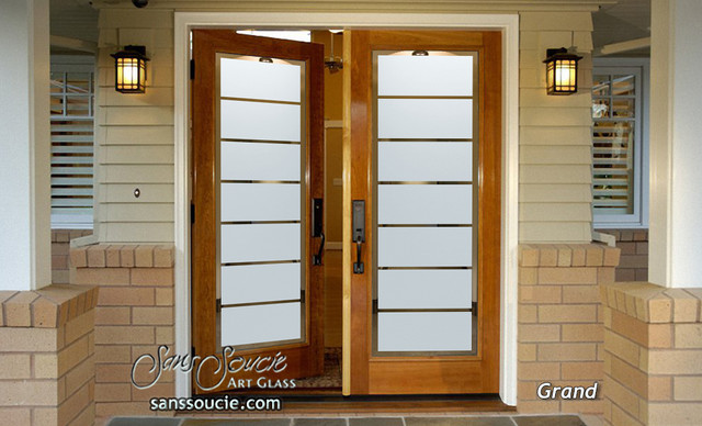 Grand Etched Glass Front Doors Exterior Glass Doors