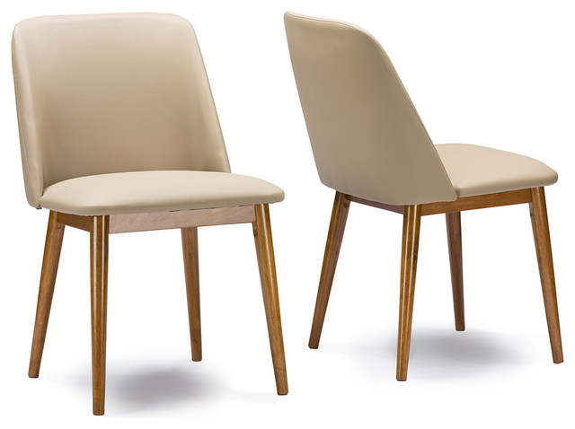 Lavin Mid Century Dark Walnut Beige Faux Leather Dining Chairs Set Of 2 Di