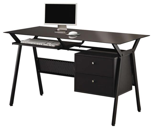 coaster computer desk, black - contemporary - desks and hutches