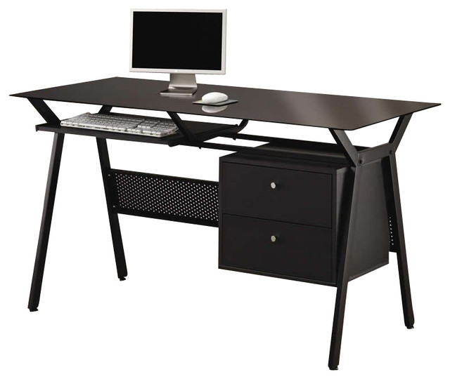 best service d5d0d 142aa Coaster Metal and Glass Computer Desk With 2 Storage Drawers