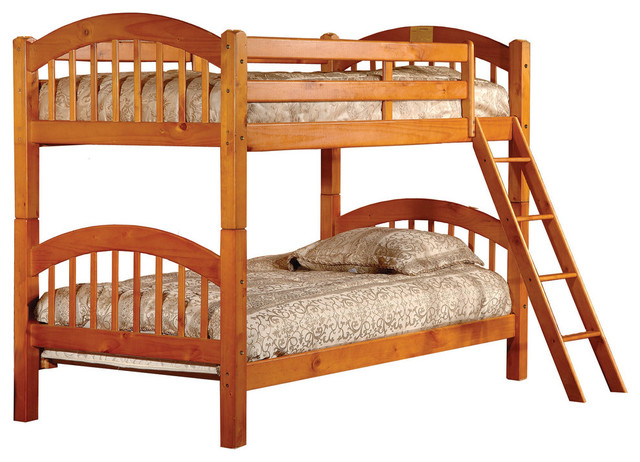 Wood Twin-Over-Twin Bunkbed, Oak.