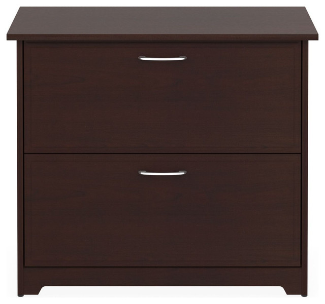 2 Drawer Lateral File Cabinet Cherry Wood Finish