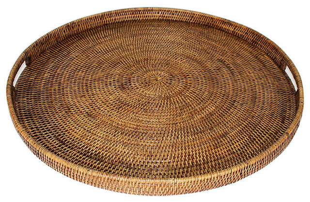 Rattan Tray With Handle Round 26 Quot Tropical Serving