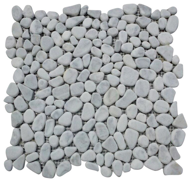 "12""x12"" Carrara White River Rocks Pebble Stone Mosaic Tile Tumbled"
