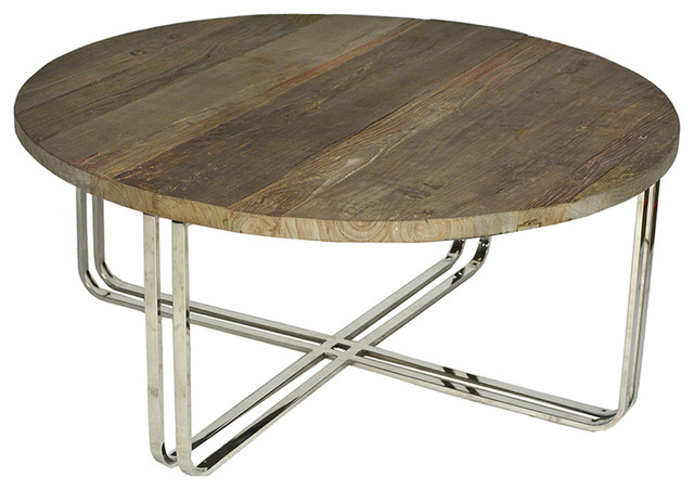 Charmant Round Wood And Chrome Coffee Table