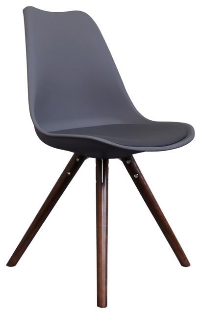 Scandi Style Dining Chair, Pyramid Walnut Legs, Charcoal Grey