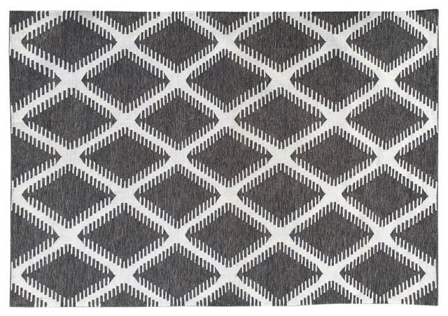 Petter Diamond Indoor/Outdoor Rug, Grey, 300x200 cm