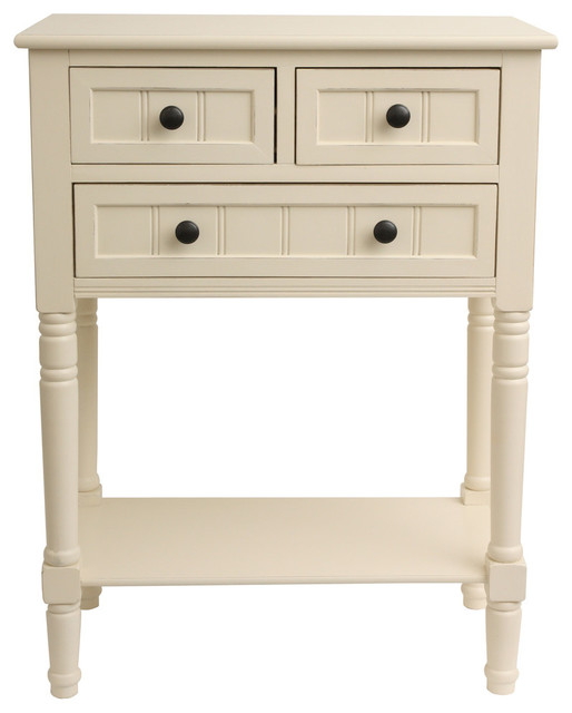Wooden 3 Drawer Console Table, Antique White Traditional Console Tables