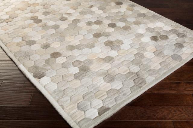 Palika Global Bazaar Honeycomb Beige Grey Cowhide Rug 2x3