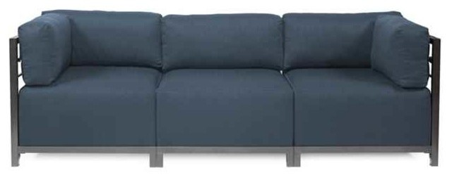 3 Pc Sectional In Rich Indigo Blue Sectional Sofas By