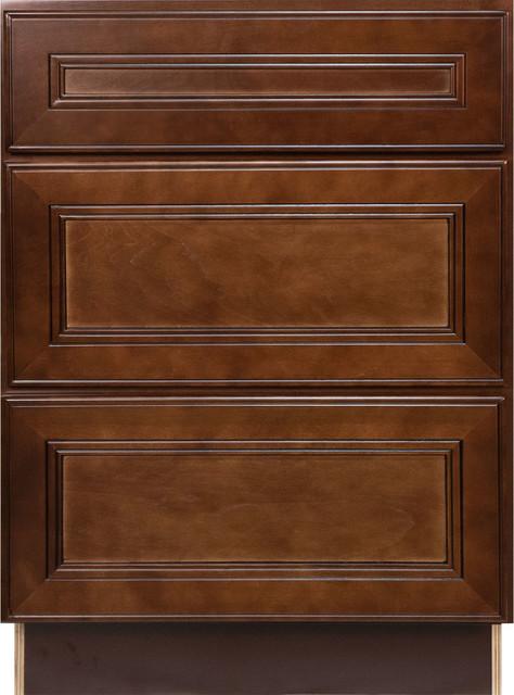 Cherry mahogany brown leo saddle 3 drawer base kitchen for Cherry mahogany kitchen cabinets