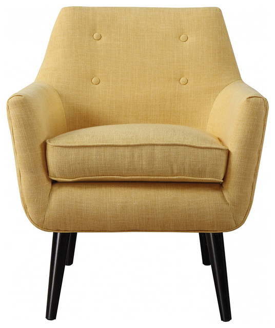 Clyde Linen Chair, Mustard Yellow midcentury-armchairs-and-accent-chairs - Clyde Linen Chair - Midcentury - Armchairs And Accent Chairs - By