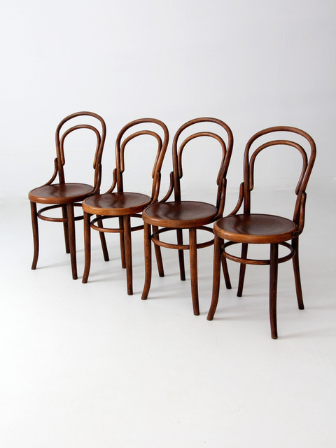 - Antique Fischel Bentwood Chairs Set Of 4 - Eclectic - By 86 Vintage