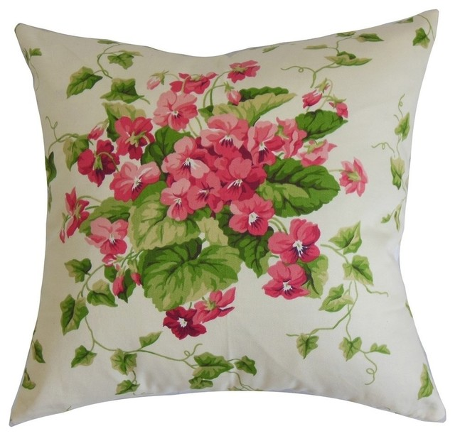 Pink Floral Decorative Pillows : Haru Floral Pillow Pink - Contemporary - Decorative Pillows - by The Pillow Collection