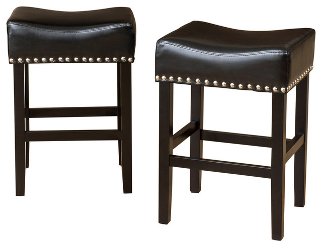 Loring Black Bonded Leather Backless Counter Stools Set