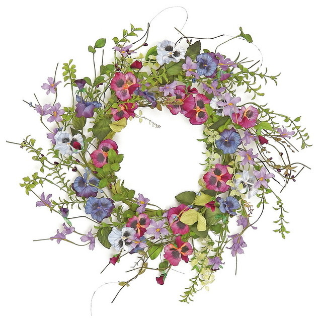 """22"""" Pansy And Wildflower Wreath."""