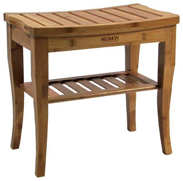 Bamboo Shower Bench With Storage Shelf