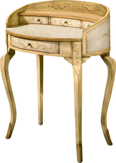 Damosel Hand Painted Ladies Writing Desk - Beige.