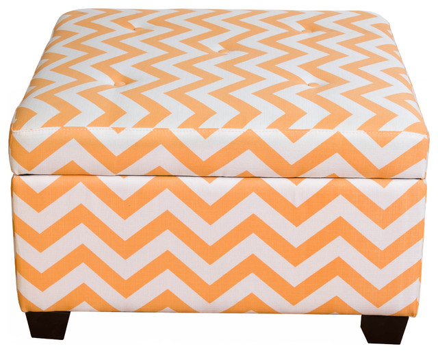 Bombay Ponce Orange Chevron Storage Ottoman contemporary-footstools-and- ottomans - Sands Bombay Ponce Orange Chevron Storage Ottoman - Footstools And