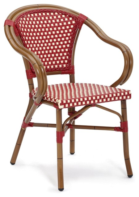 Baton Rouge Outdoor Dining Chair Ivory and Bourdeaux