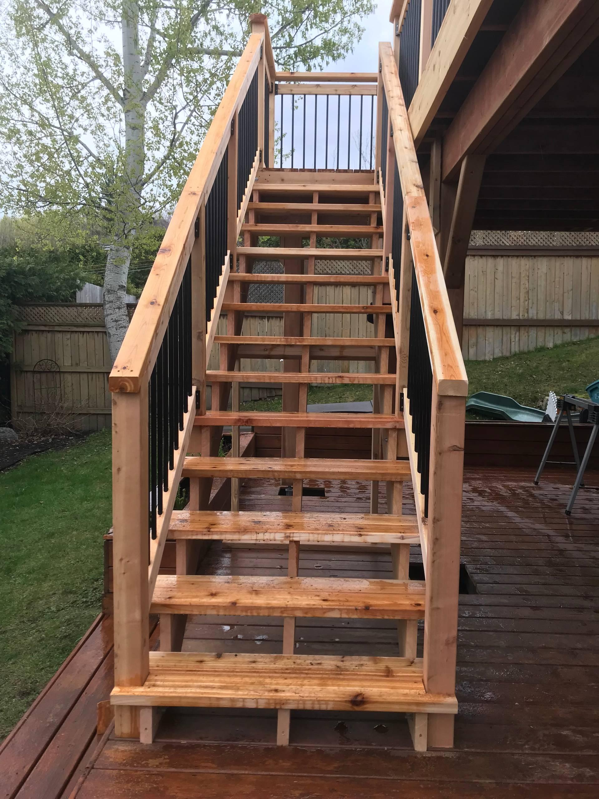 13 steps , 2 x 12 cedar stringers