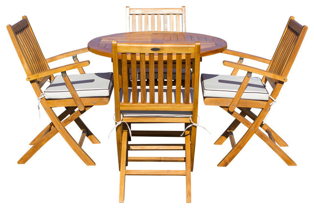"5-Piece Teak Wood Santa Barbara Patio Dining Set with 47"" Round Folding Table"