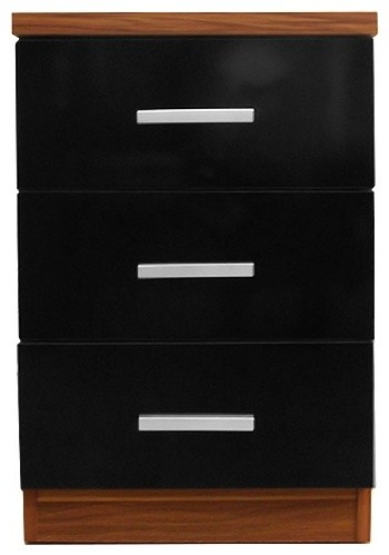 Torino 3-Drawer Bedside Table, Black and Walnut